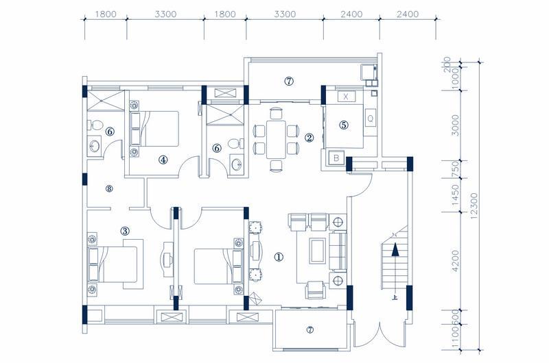 MA型 三室两厅一厨两卫 建筑面积 130.71㎡ 房屋面积114.72㎡