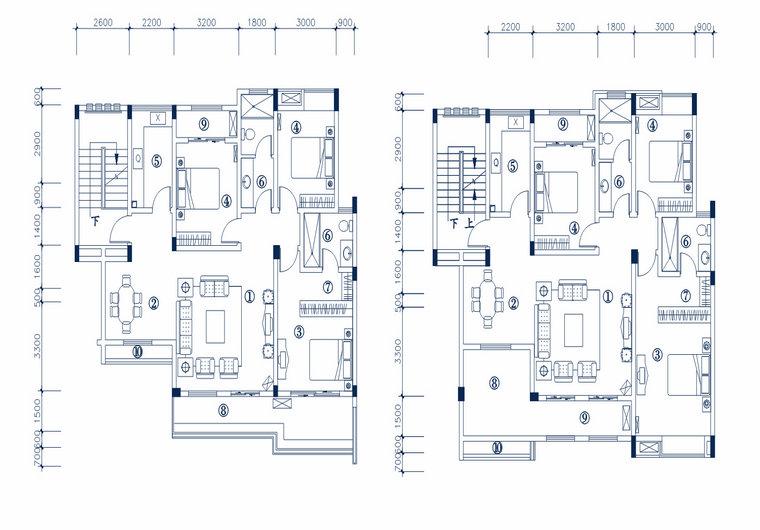 Ha-4型 三室两厅一厨两卫 建筑面积 123.82㎡ 房屋面积114.61㎡ <br/>Ha-3型 三室两厅一厨两卫 建筑面积 133.57㎡ 房屋面积120.61㎡