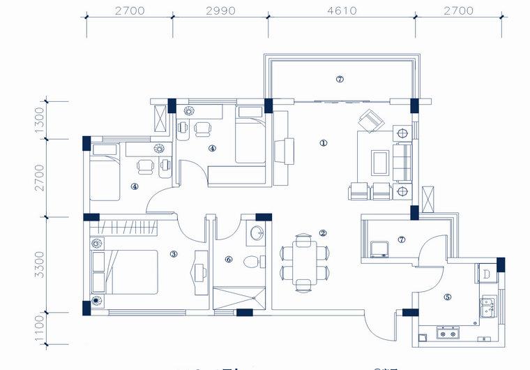 MC-1型 三室两厅一厨一卫 建筑面积 85.32㎡ 房屋面积73.1㎡
