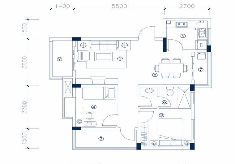 MC-2型 两室两厅一厨一卫 建筑面积 68.25㎡ 房屋面积54.74㎡